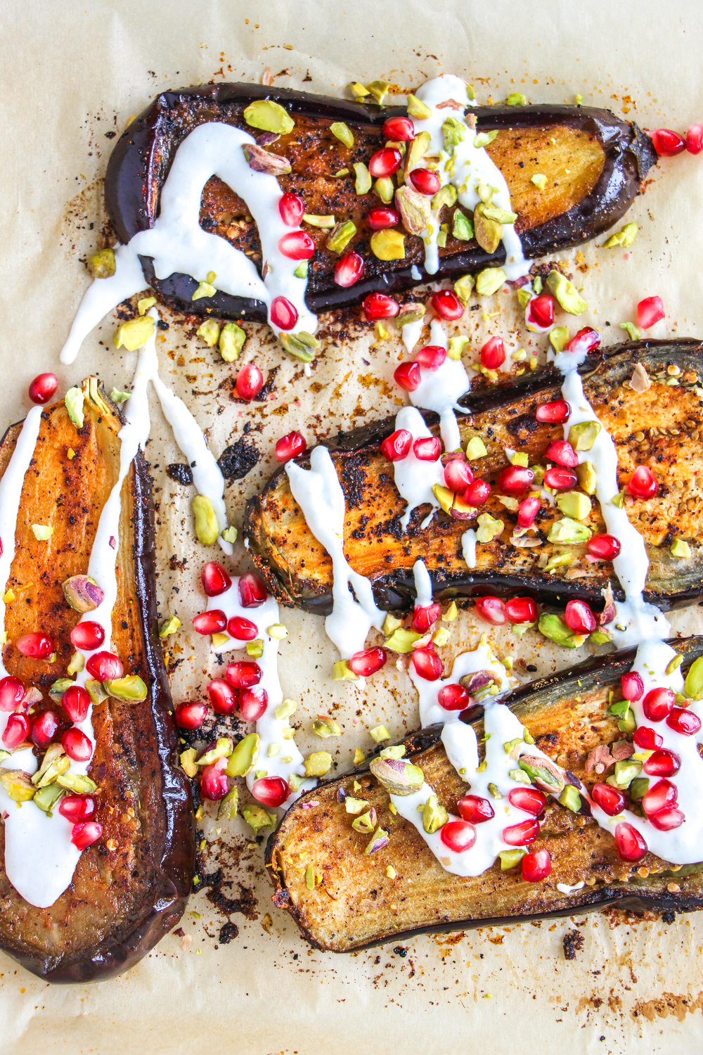 roasted eggplant with tahini // #ShiraRD #paleo #refinedsugarfree #SnacksbyShira