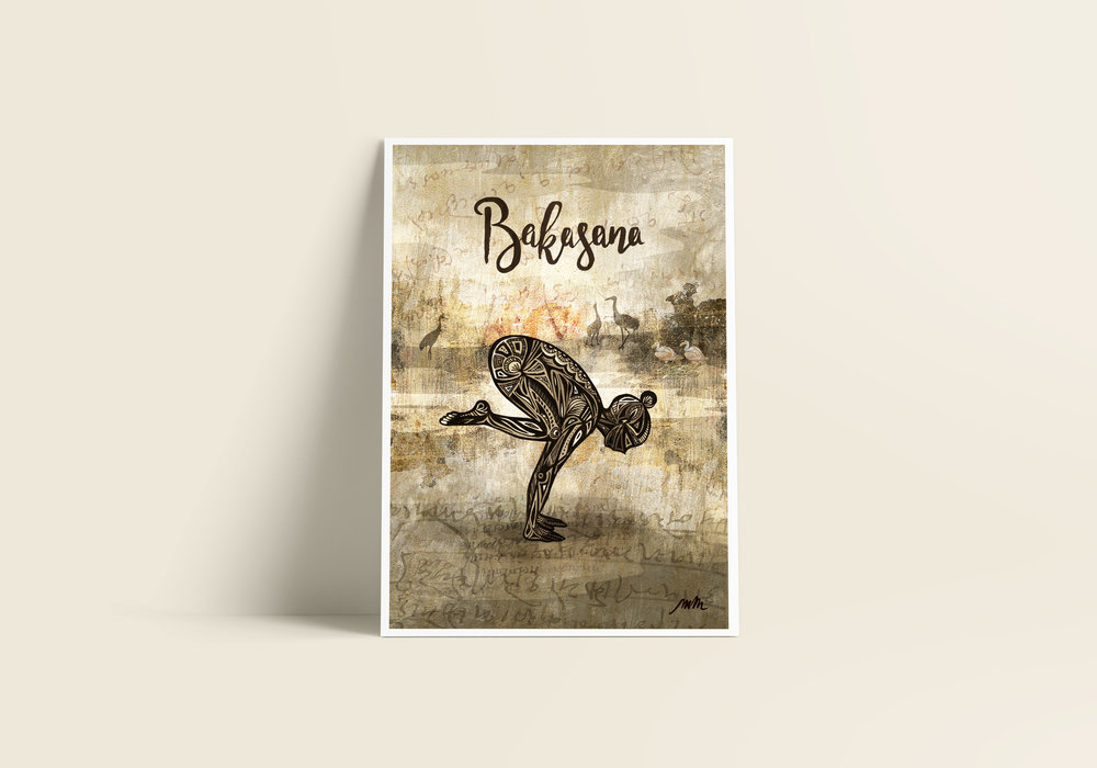 Bakasana / Crane Pose - Giclée Art Print on Bamboo Paper / From £30