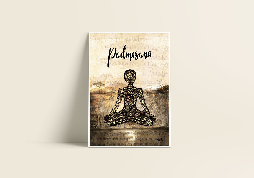 Padmasana / Lotus Pose - Giclée Art Print on Bamboo Paper / From £30