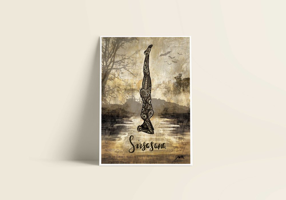 Sirsasana / Headstand - Giclée Art Print on Bamboo Paper / From £30