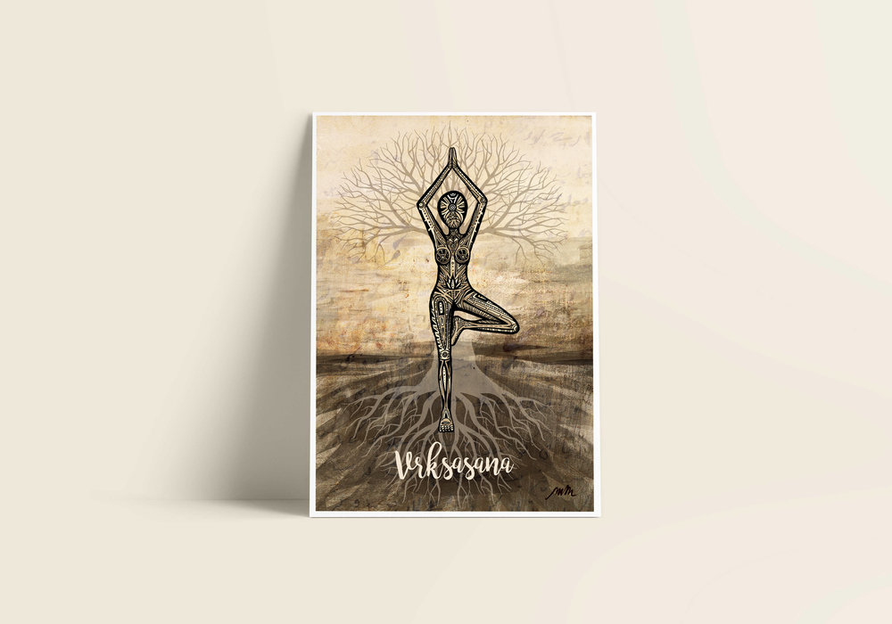 Vrksasana / Tree Pose - Giclée Art Print on Bamboo Paper / From £30