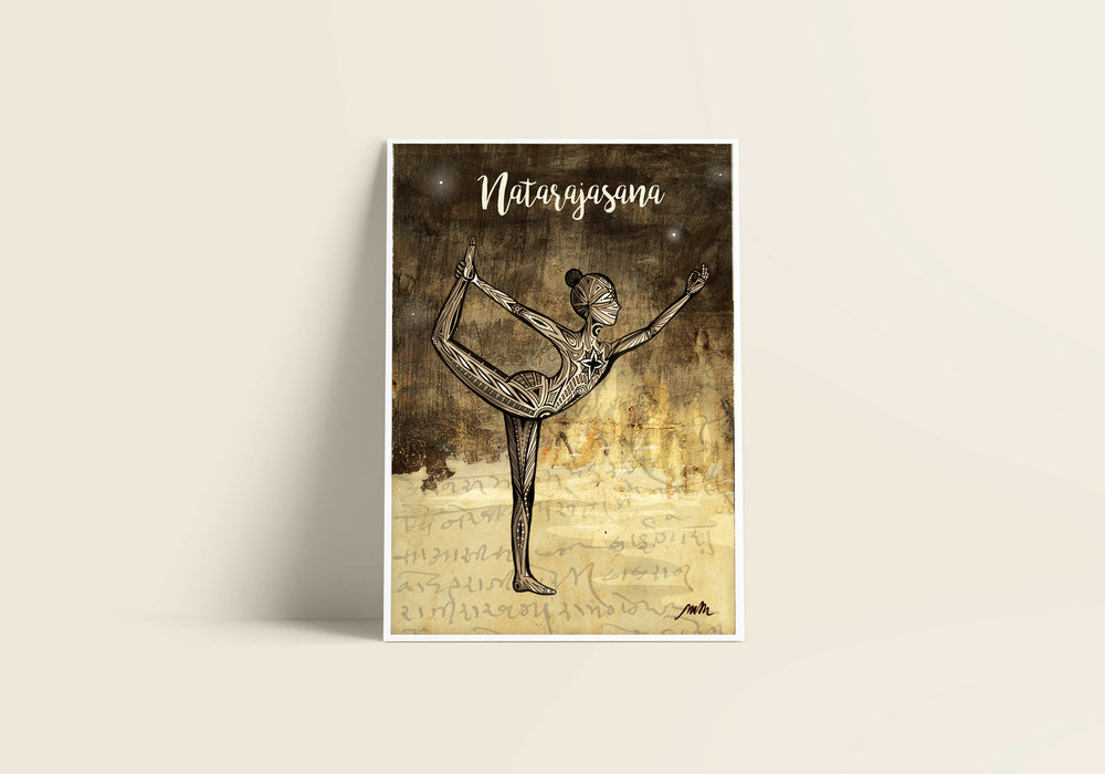 Natarajasana / Dancer Pose - Giclée Art Print on Bamboo Paper / From £30