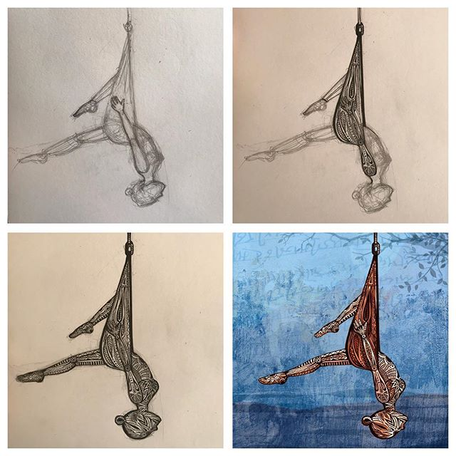 Preparatory drawings through to final artwork for this new Aerial Yoga illustration I've been working on, a custom artwork commission for the lovely Yoga With Alice @xalipalix . . . . #aerialyoga #yogaart #yogaposeart #antigravityyoga #aerialhammock #mysketchbook #aerialyogalove #yogadecor #yogaforlife #yogaillustration #yogainspiration #yogastyle #yogaartprints #yogawallart #yogadrawing #artcomission #bespokeartwork #handdrawn #yogaartist