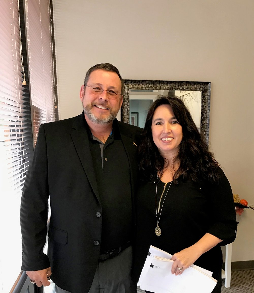Scott Higbie meeting with Erin Johnson, the owner of BLA, in our Greenbrier East office located in Chesapeake, VA.