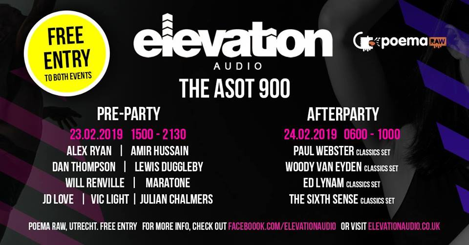 Elevation Audio Pres. Asot900 Pre Party+After Party - Free ENTRY - 23.02.2019