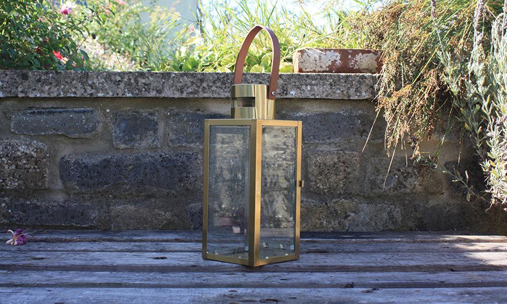 Gold glass lantern - leather handle.jpg