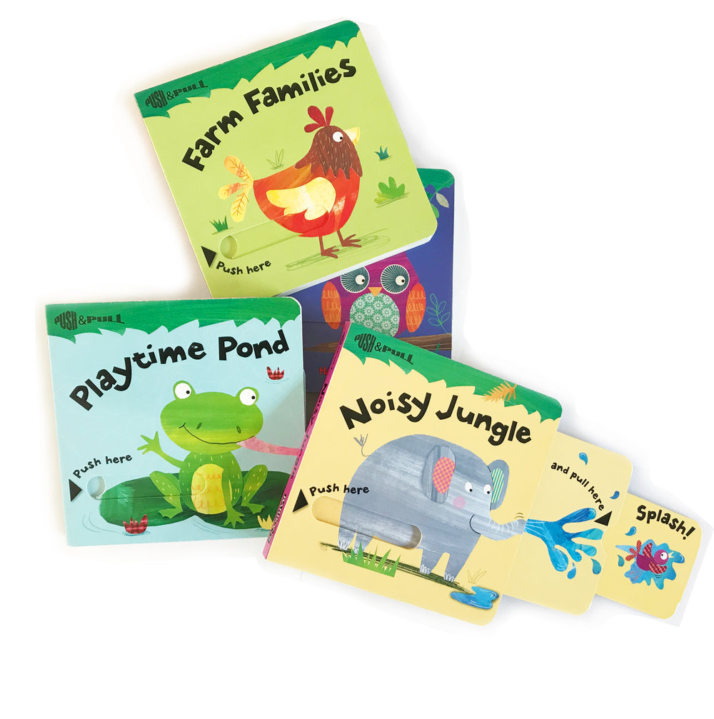 Push and Pull Books  -Noisy Jungle, Playtime Pond, Farm Families and Woodland Homes