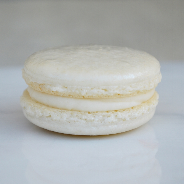 WEDDING CAKE: an almond-vanilla macaron with Amaretto liquor buttercream. This macaron is gluten free.