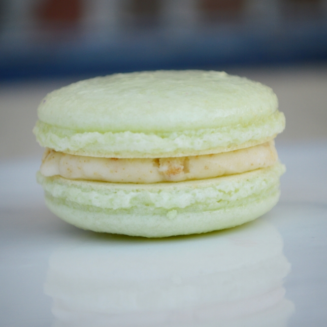 KEY LIME PIE: a lime-flavored macarons filled with a graham cracker buttercream. This macaron is NOT gluten free.