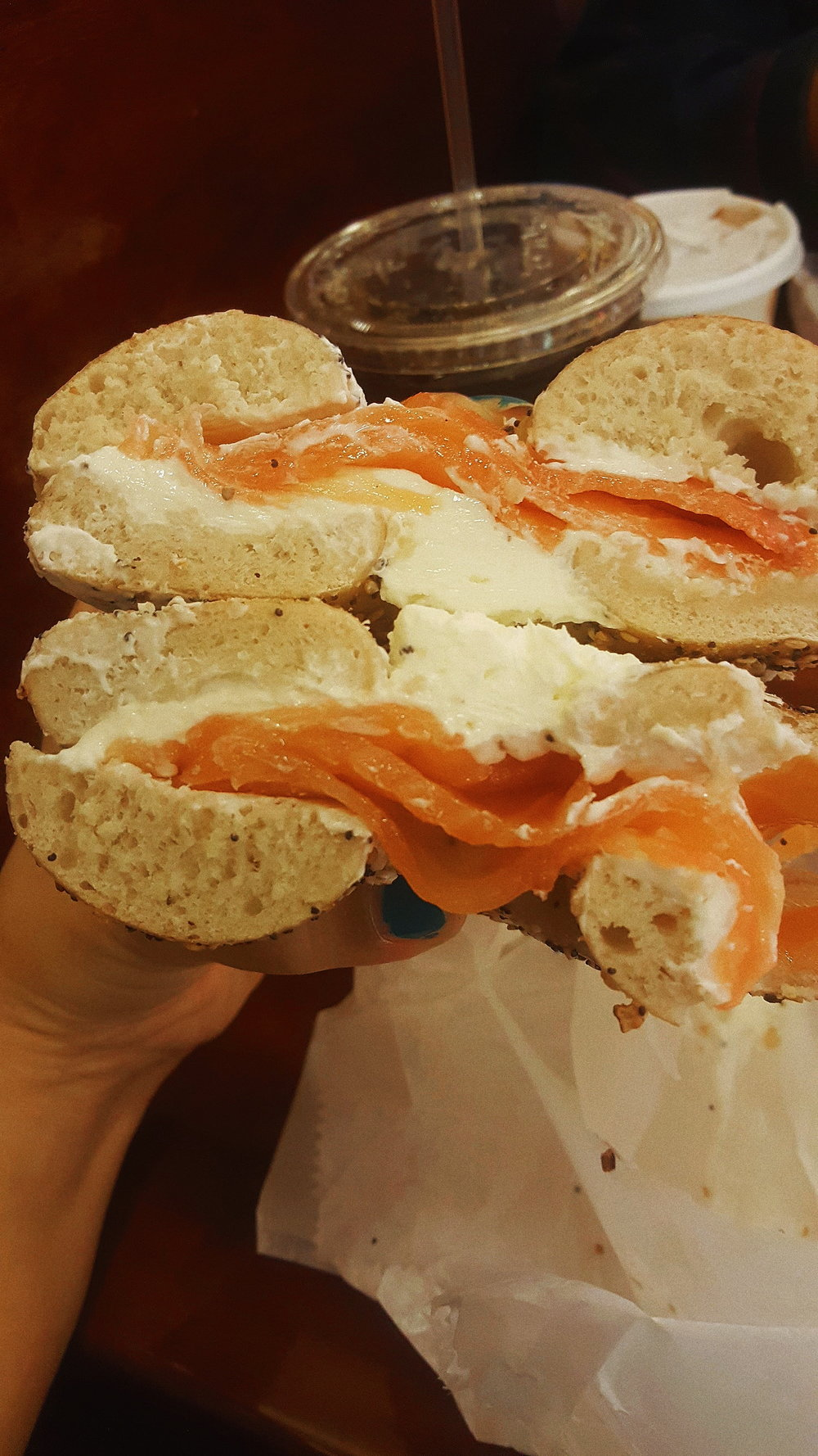 Saturday morning lox at Tal Bagels. The Best bagel shop on the UWS. Roughly $12, or you can head to your local food truck for a toasted Everything bagel w/ cream cheese for $2.