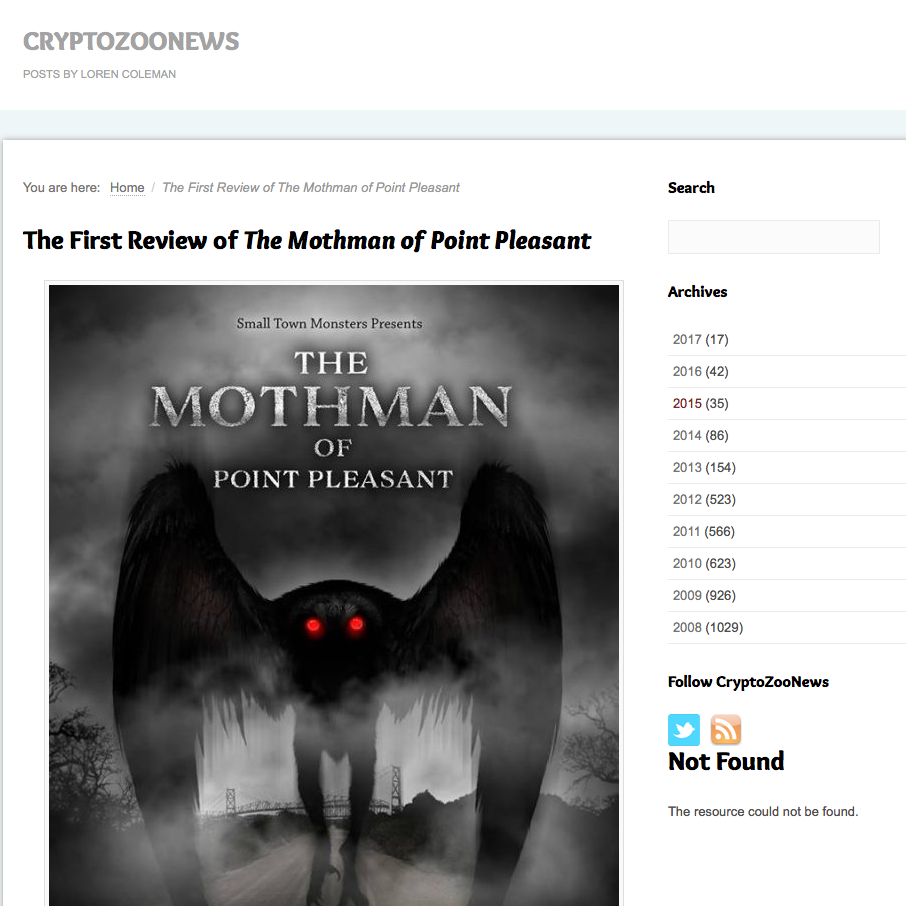 "Review: Cryptozoonews   In this review of The Mothman of Point Pleasant by Loren Coleman, Loren mentions Brandon's score: ""From the first overhead shots of the drone cinematography by Zac Palmisano showing the poverty-filled landscape of the area, through the haunting music of Brandon Dalo's reflecting the devastated surroundings, the film gives a sense of foreboding in Point Pleasant."""