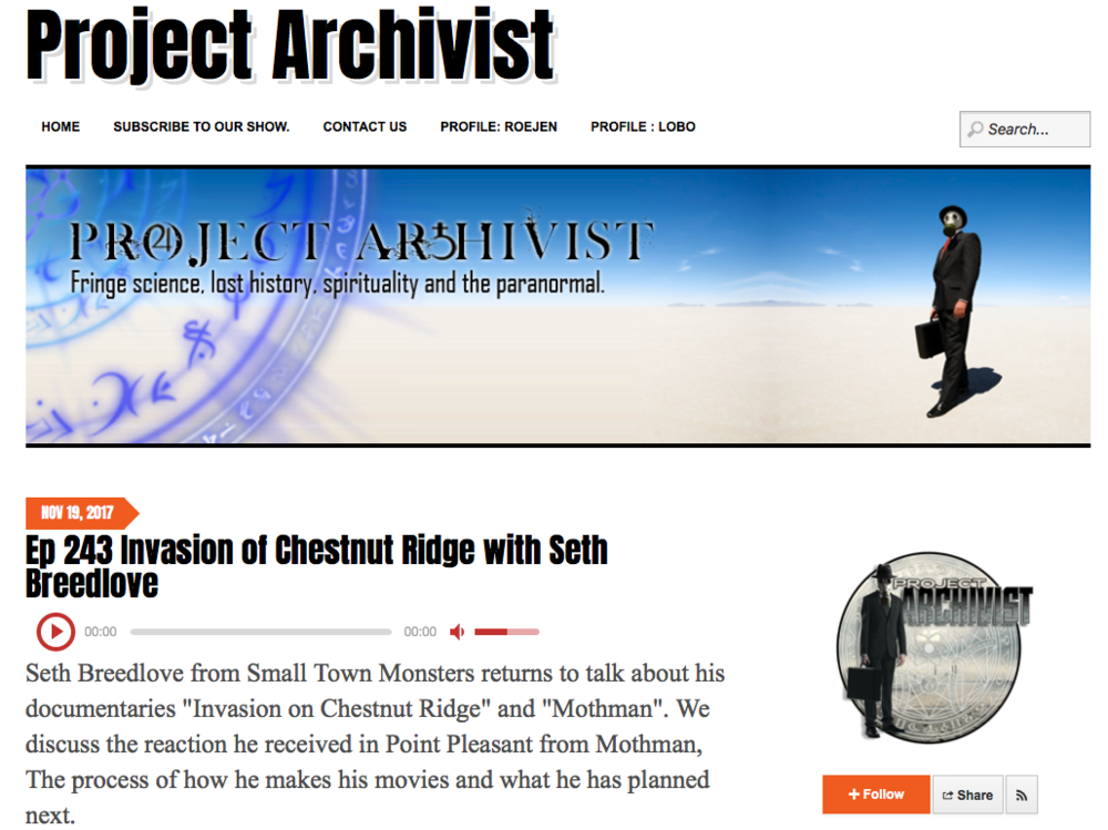 Podcast: Project Archivist (11/19/17)   In this podcast interview, Director Seth Breedlove talks about seeing Brandon's growth as a composer over the course of making the series and his music is also featured in the opening of the interview.