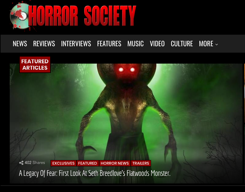 "Blog Article: Horror Society (11/29/17)   New music from Brandon can be heard in this exclusive release of the trailer for the new documentary ""The Flatwoods Monster""."
