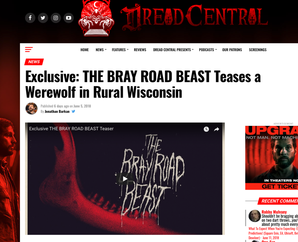 Blog Article: Dread Central (6/5/18)   Brandon is mentioned in an article on Dread Central about The Bray Road Beast teaser trailer.