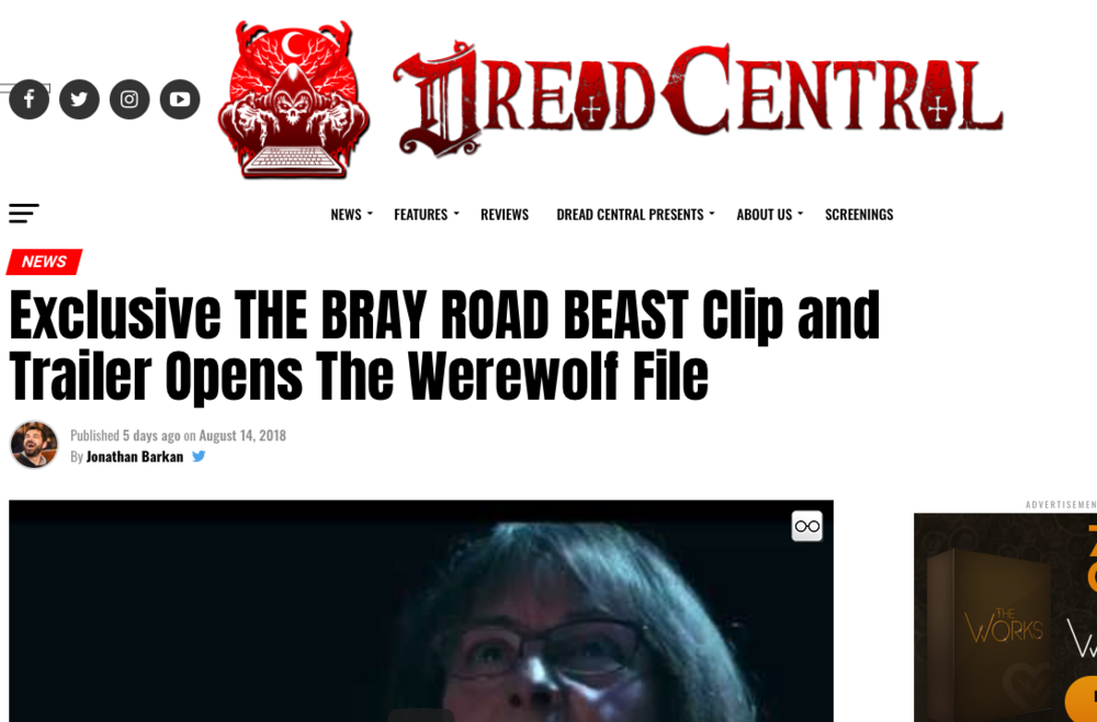 Blog Article: Dread Central (8/14/18)   Brandon is mentioned in an article on Dread Central about the upcoming The Bray Road Beast documentary.