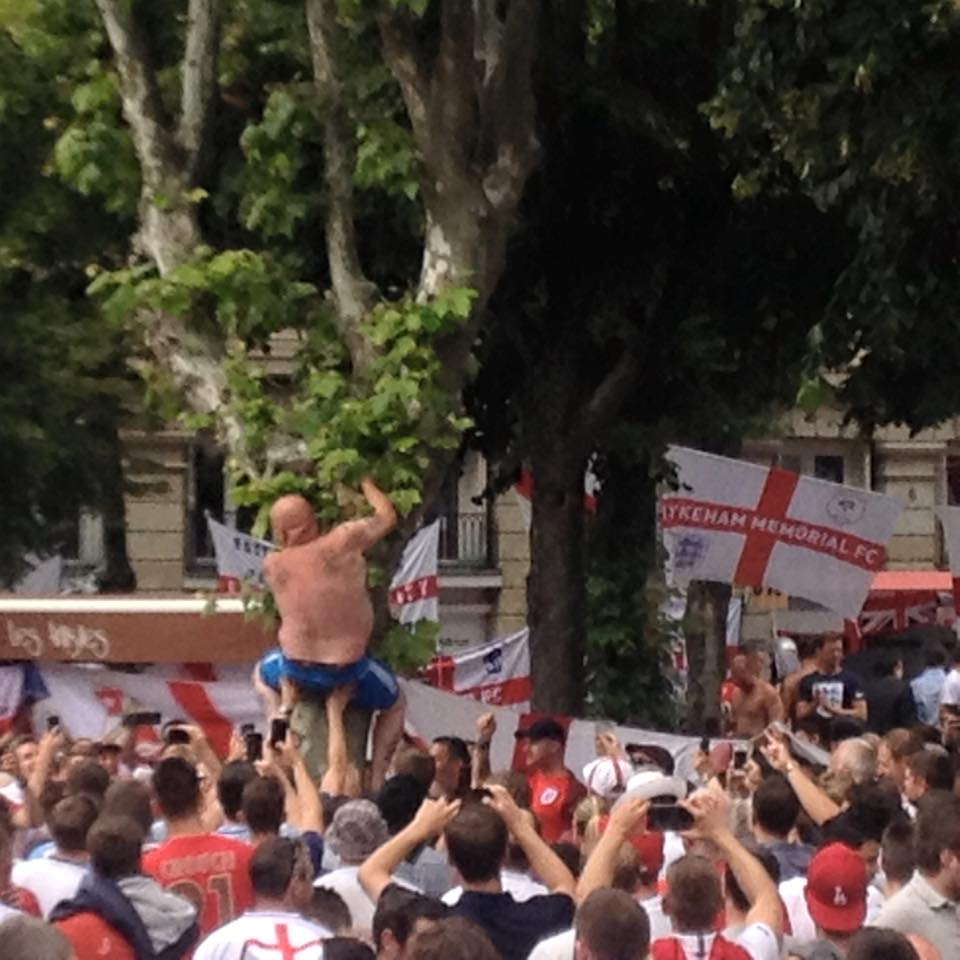 England Fans rescuing beer from trees in France!