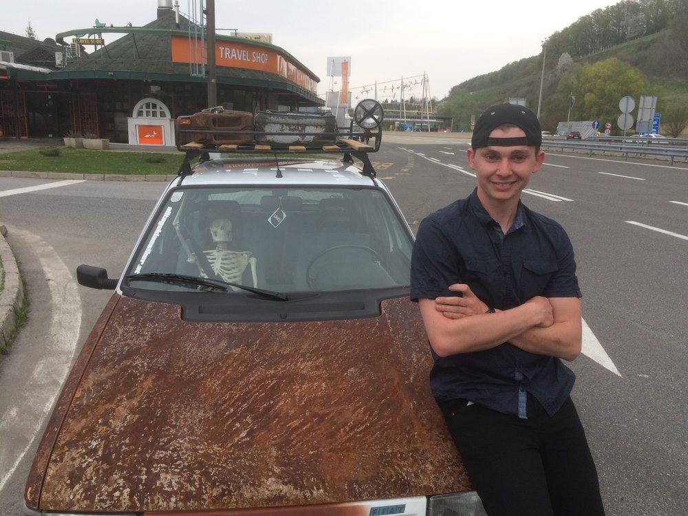 Tobias, the slightly anorexic 'Maxi' and his awesome car 'Rust 1'.