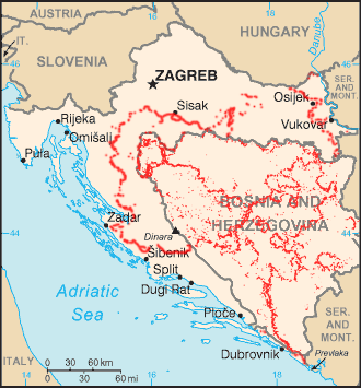Landmine contaminated areas in the Former Yugoslavia