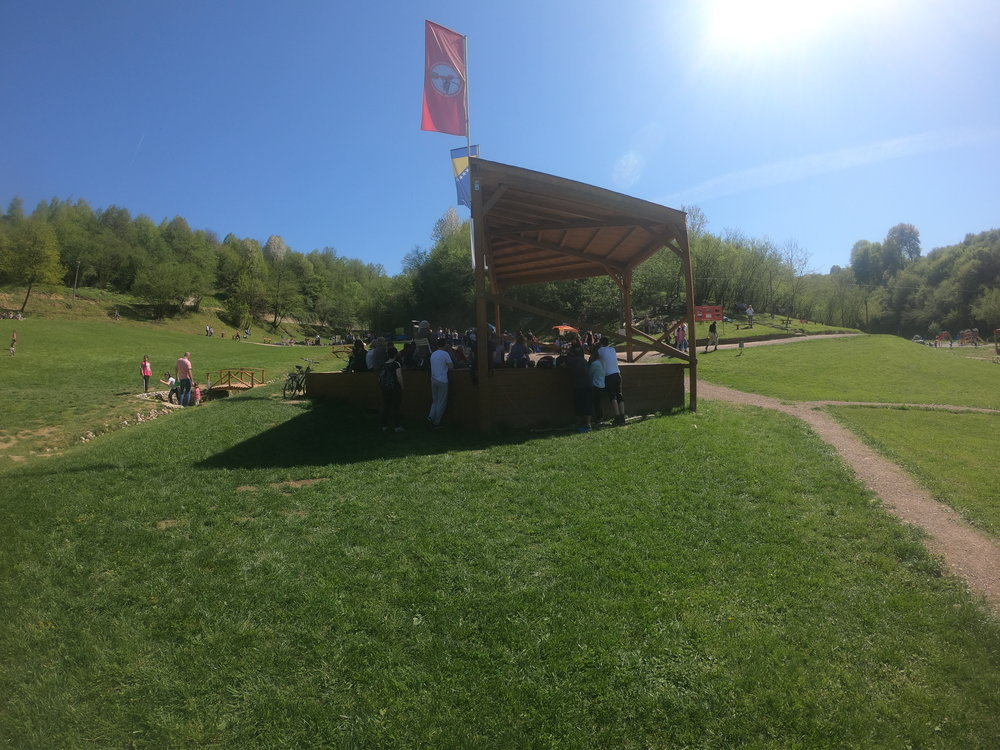 The small concert stage at the park
