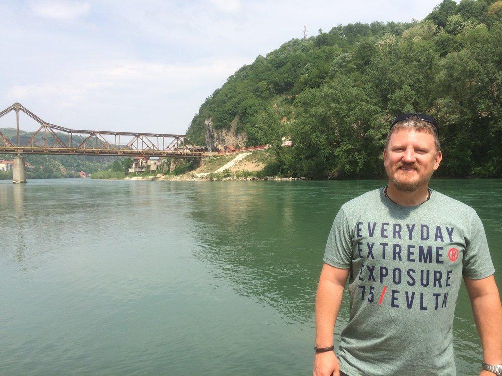 The Bridge at Zvornik. One side Bosnia & opposite is Serbia.