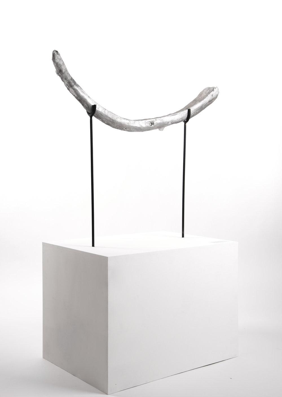 Untraceable Origin #56  , aluminum cast, wood, and steel,60cmx125cmx150cm,2017