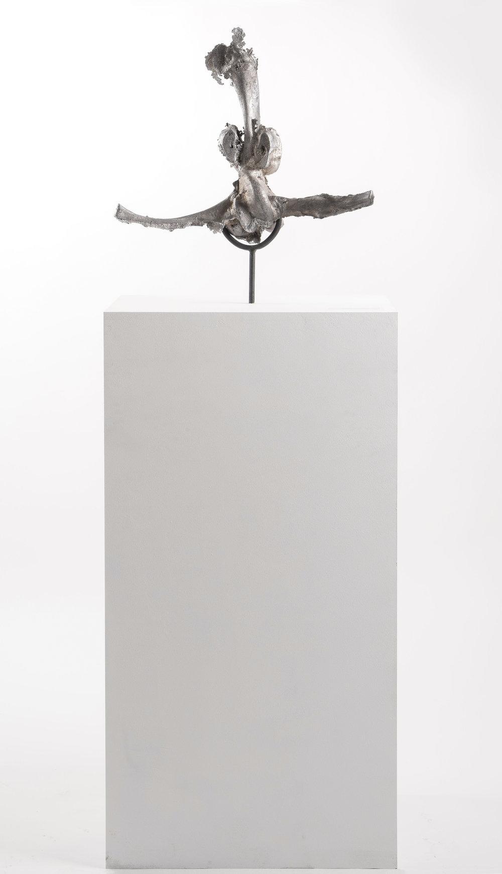 Untraceable Origin #58  , aluminum cast, wood, and steel,30cmx40cmx170 cm,2017