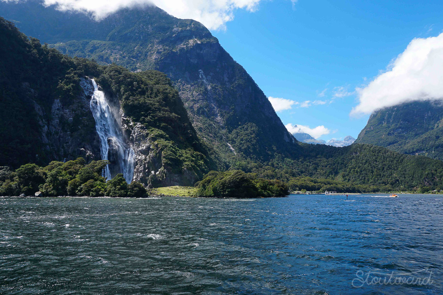 Returning to the port, we passed by Bowen Falls. One of only two permanent waterfalls (the other is Stirling) in all of Milford Sound.
