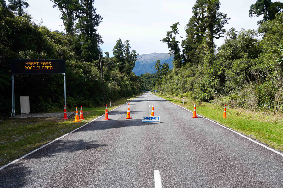 The road we arrived on. Turns out, NZ Transit Authority has closed all roads out of Haast.