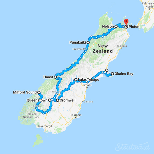 South Island: 29 hours driving over 9 days