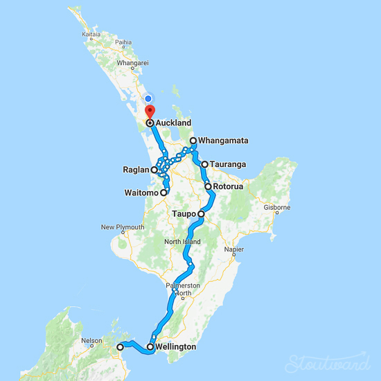 North Island: 19 hours driving over 6 days