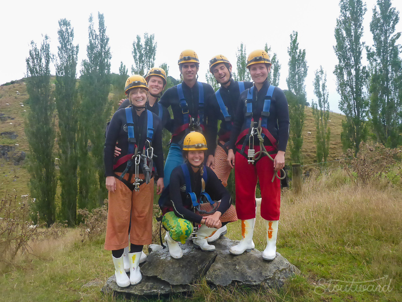 Our little cave exploration group in our cool outfits.