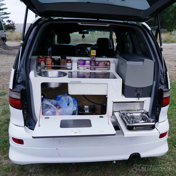 "The glorious van ""kitchen."""