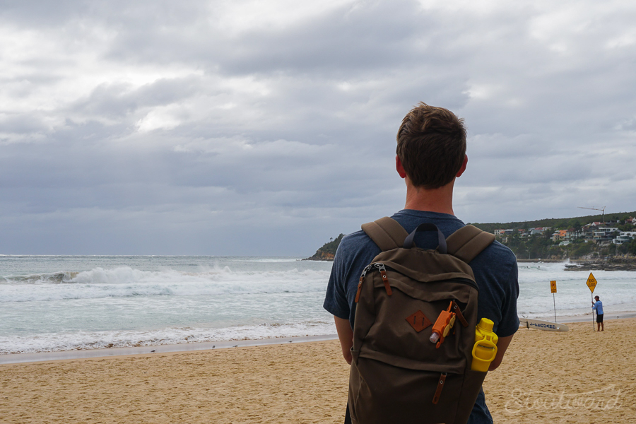 Andrew checking the surf at Manly Beach—one of the many great surf spots.