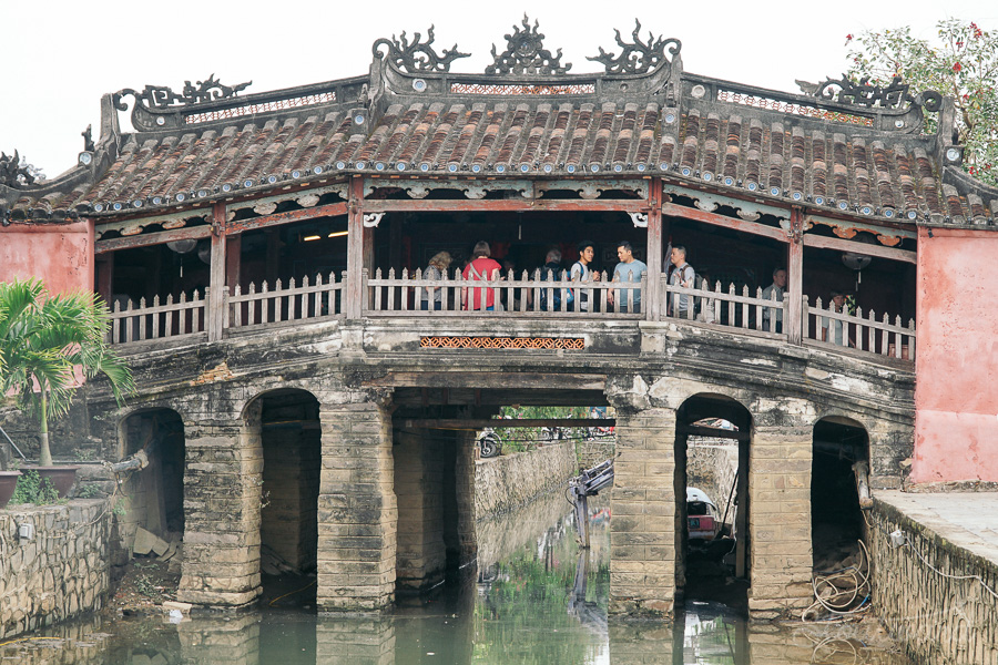 Japanese Bridge in Hoi An Vietnam in daylight. Historically used as a trading port for Chinese, Japanese, Vietnamese and European (specifically French) traders.