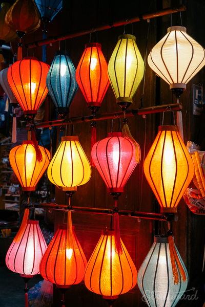 Glowing lanterns photographed at night in Hoi An Vietnam