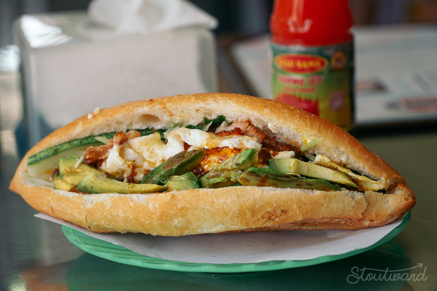 The best Banh Mi (pork belly, pate, cheese, egg, avocado, chili sauce in french bread) in Hoi An Vietnam.