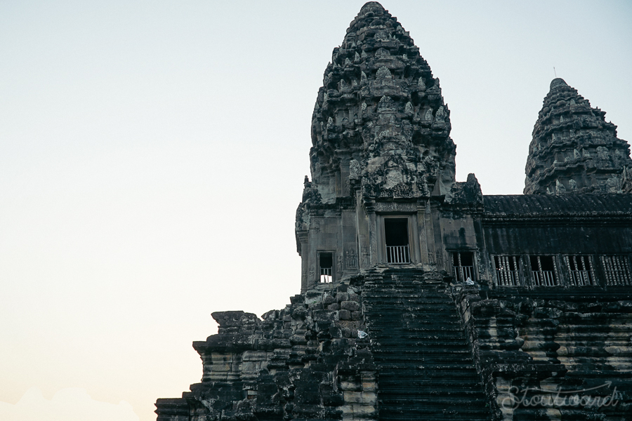 tower of temple of ankor wat siem reap cambodia at sunrise