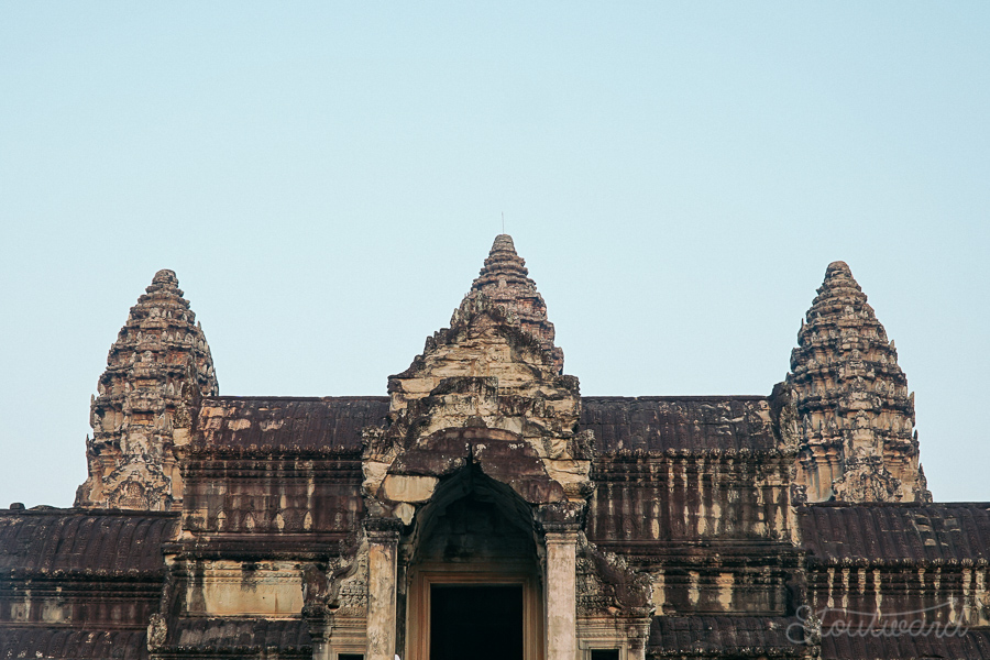 well known three peak towers at angkor wat in siem reap cambodia.