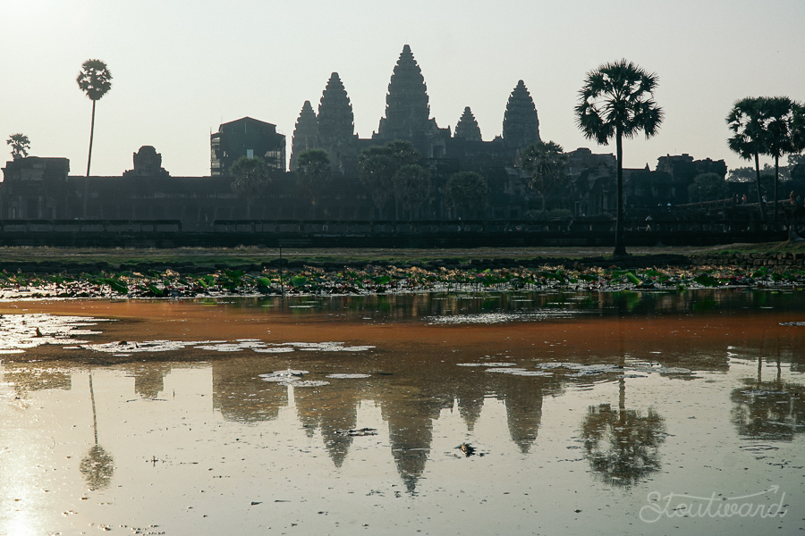 classic angkor wat reflection in siem reap cambodia. most photographed spot in angkor.
