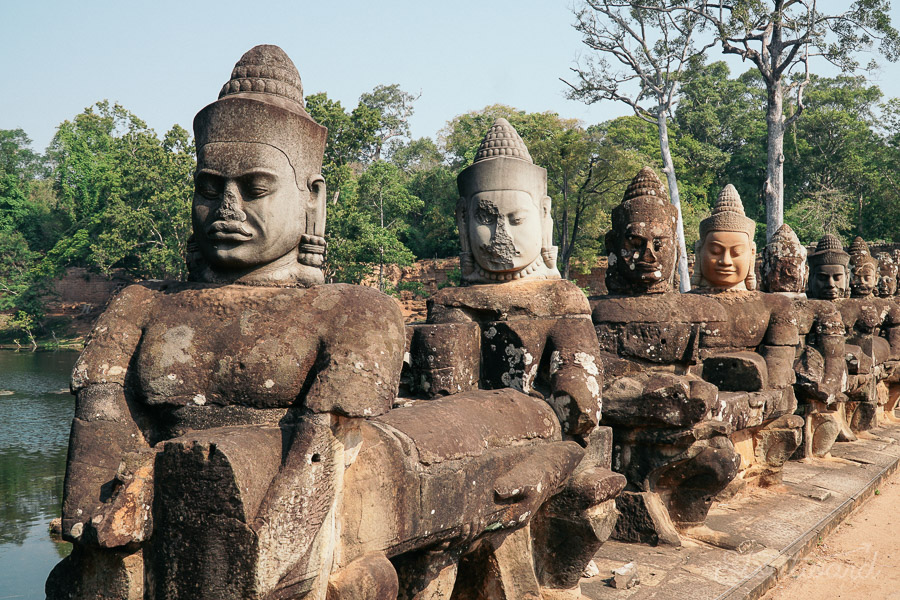 south gate buddhas of angkor thom in siem reap cambodia.