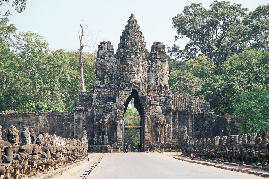south gate tower to angkor thom in siem reap cambodia.