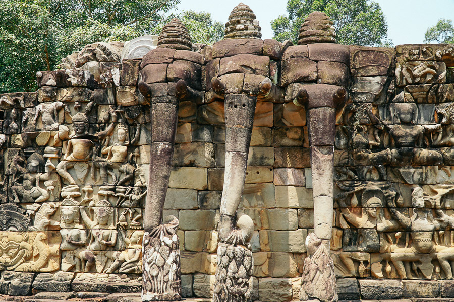 The elephant terrace outside the Angkor Thom temple area in siem reap cambodia.
