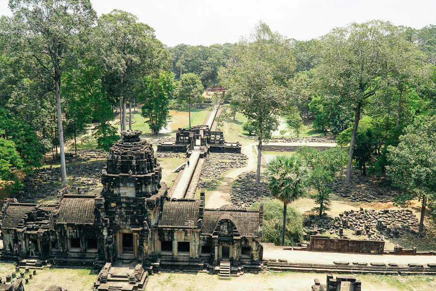 The view from the top of the Baphuon temple in Angkor Thom outside of Siem Reap, Cambodia.