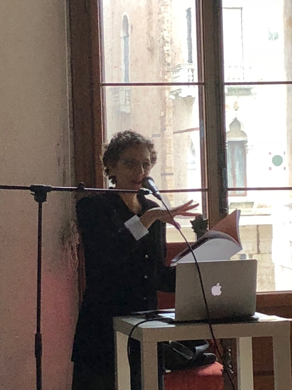Ronna Bloom reading poems at Palazzo Contarini Polignac