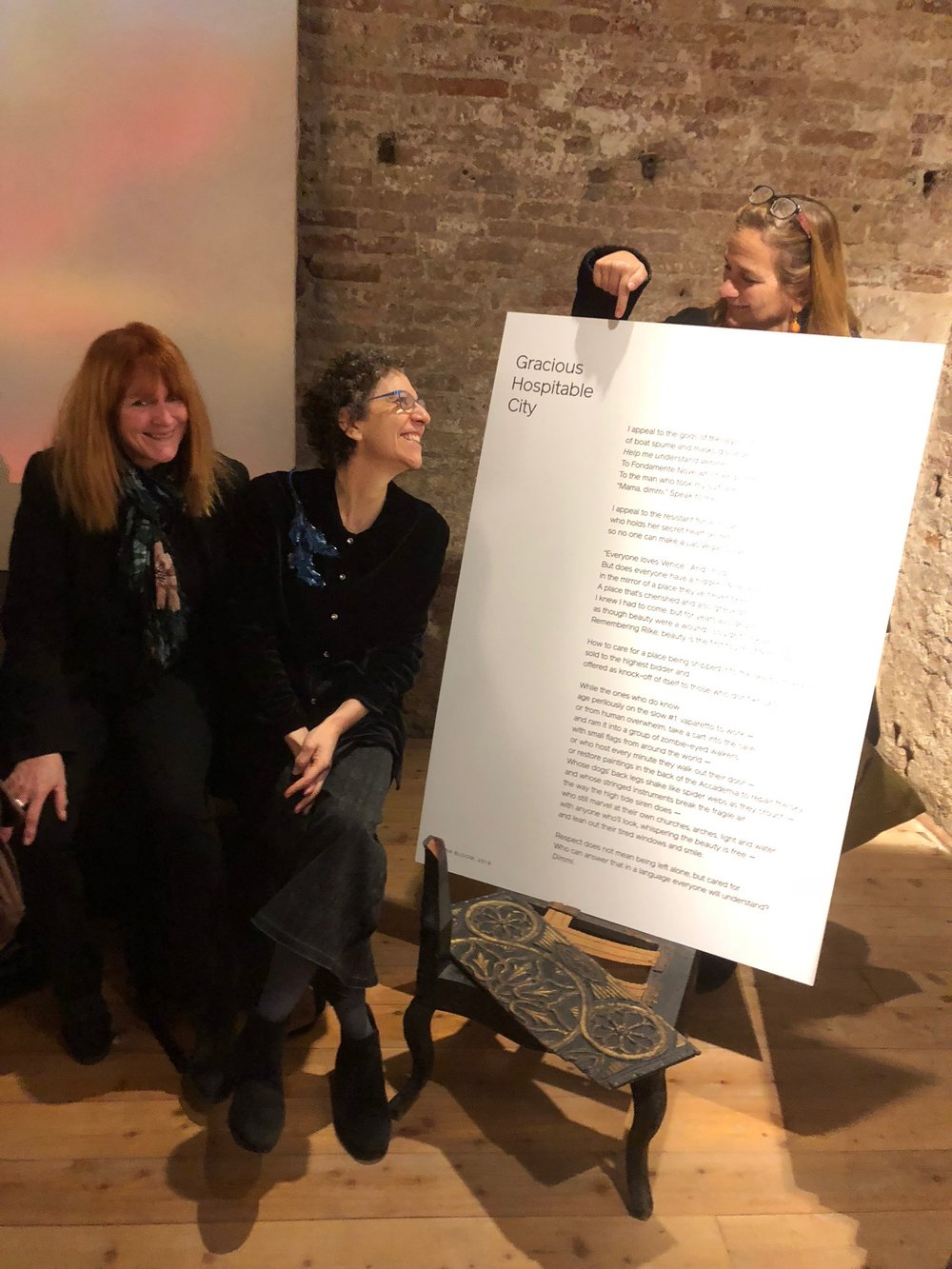 From left, Cat Bauer, Ronna Bloom, Tracy Chevalier at Rhinoceros: Luxury's Fragile Frontier, Venice