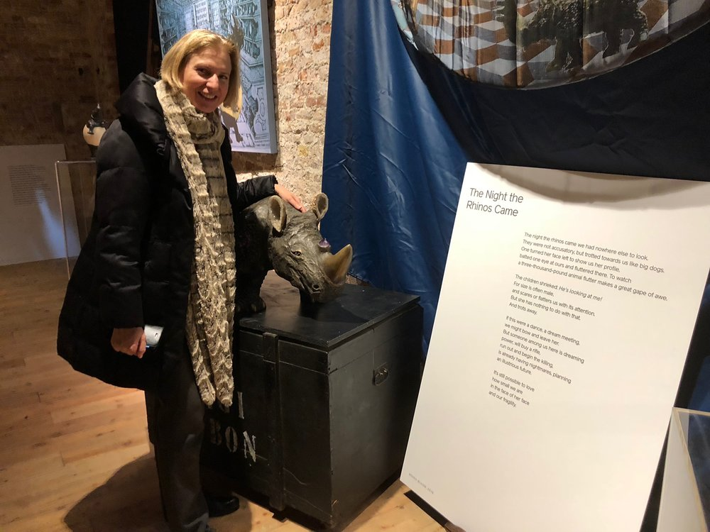 Catherine Kovesi, curator of the symposium and show, with Artemesia, a rhino sculpture by Venetian sculptor, Gigi Bon.