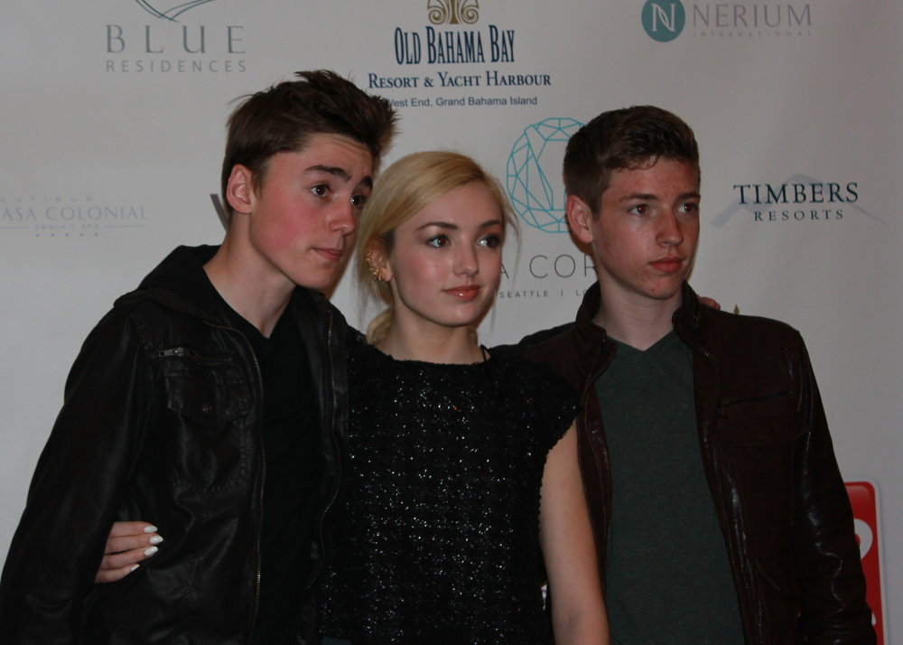 "Spencer List (""Fringe""), Peyton List (""Jessie""), and Jackson Pace (""Homeland"") on the red carpet."