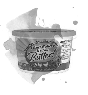 Fake Butters/Margarine - While these claim to be the healthy alternative to butter, imitation butters are filled with processed vegetable oils, artificial ingredients, and preservatives.