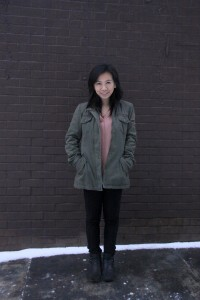 Grace Li, 22 - StudentChinese How would you describe your style?Comfy with a little bit of edginess. What does self-expression mean to you?Fashion is about self-expression and not being afraid to be different. What inspired your look today?Feminine pink on the inside, with an army anorak on the outside. What are you currently wearing?Forever 21 shirtParisian pantsAnne Klein bootsBuffalo jacket What is one fashion accessory you can't live without?A good jacket or anorak.
