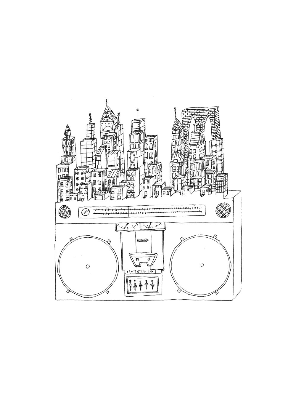"boom box city #1 , 2017  ink on paper, 9"" x 12"""